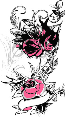 swallow: tribal swallow and flower design Illustration