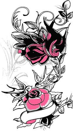 swallow: Tribal swallow en bloem design