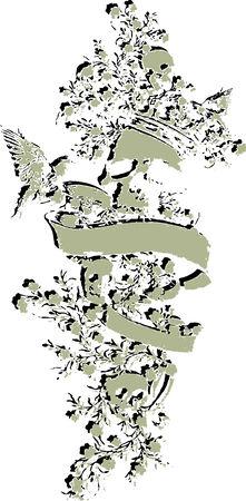 rock logo: cr�neo con el emblema de flores Vectores