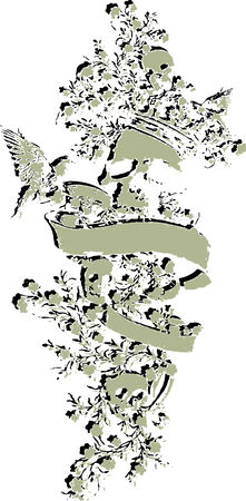 skull with flores emblem Vector