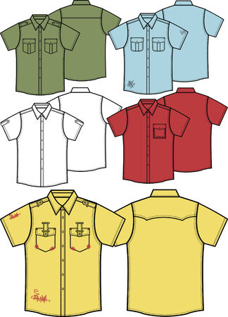 white uniform: men shirts Illustration