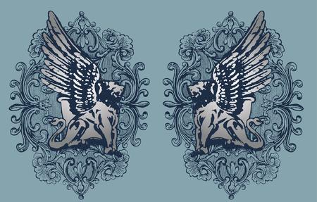lion wings: Ilustraci�n de grifo Vectores