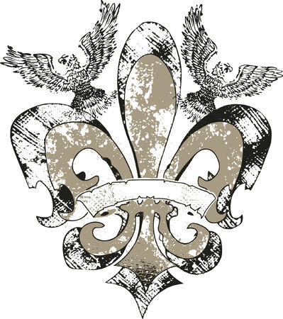 bird  celtic: eagles on fleur de lis emblem Illustration