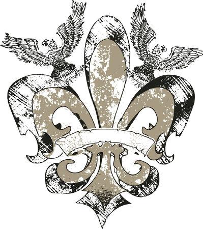 celtic art: eagles on fleur de lis emblem Illustration