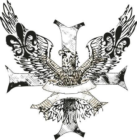 eagle on cross with fleur de lis emblem Stock Vector - 6504623