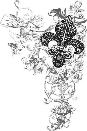 fleur: decoraci�n de flor de lis Vectores