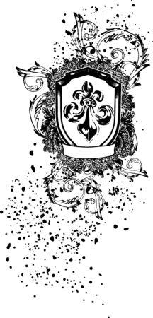 scroll emblem shield Vector
