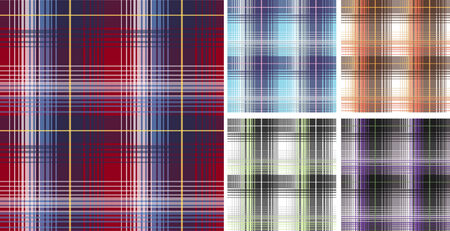 Seamless plaid fabric pattern background Vector