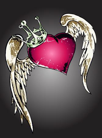 tribal flying heart illustration Vector