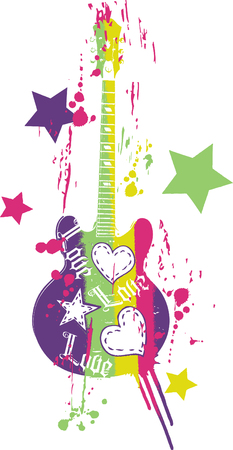 funky music: funny guitar illustration