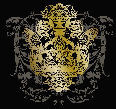 crests: ricciolo schermatura emblema  Vettoriali