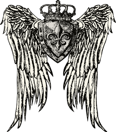 warrior tribal tattoo: wing and crown tattoo design Illustration