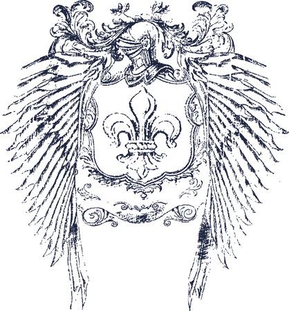 fleur: dise�o de escudo de casco romano Vectores