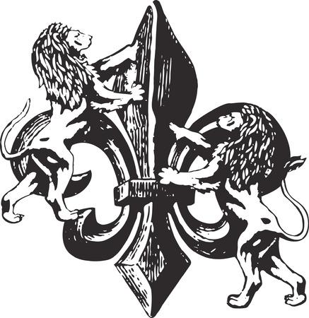 flor de lis con leones Ilustración de vector
