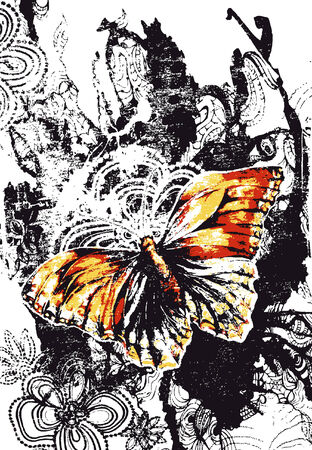 brush stroke: butterfly retro banner