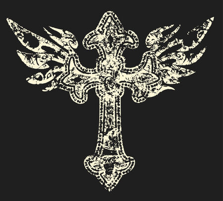 distressed cross with wing