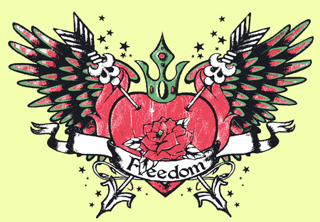 classic tribal heart with rose and wing Vector