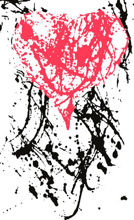 clipart wrinkles: heart in ink splash effect Illustration