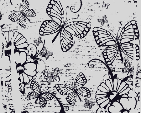 beautiful butterfly and flower texture