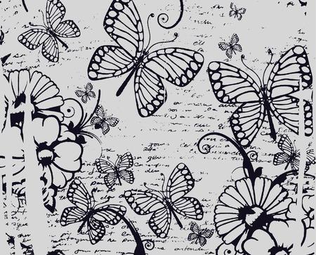 Textura de mariposa y flor hermosa Foto de archivo - 6791554