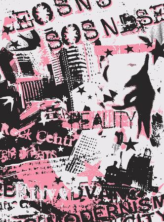 wand graffiti: Frau Mode poster