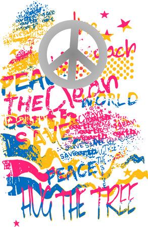 peace graffiti art banner Vector