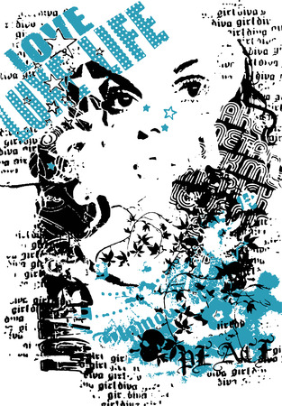 woman with graffiti street style Vector
