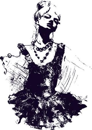 bocetos de personas: Ilustraci�n de ni�a bailarina  Vectores