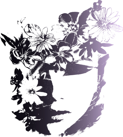 lady face with flower and butterfly Illustration