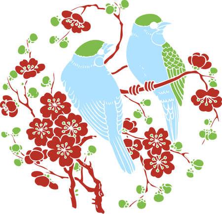 oriental season: bird and tree greeting