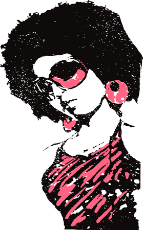 retro music: music lady illustration