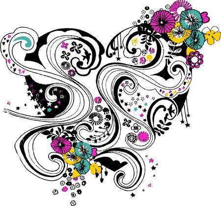 swirl flower and heart artistic design  Vector