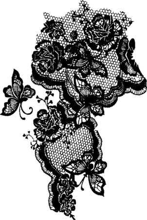 butterfly and rose lace pattern Vector