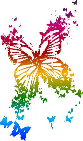 mariposa caricatura: diseño de verano de mariposa de arco iris Vectores