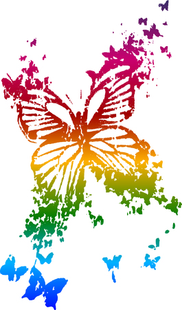 rainbow butterfly summer design