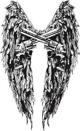 group of objects: vleugel en pistool