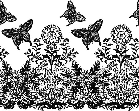 retro lace: seamless flower and butterfly decorative background