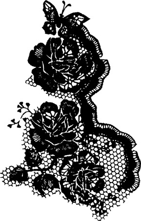 black lace: elegant rose and butterfly lace pattern