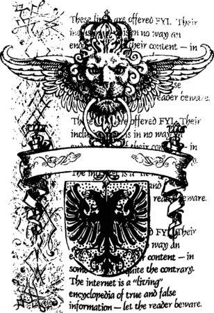 gothique: banni�re de lion et Aigle h�raldiques