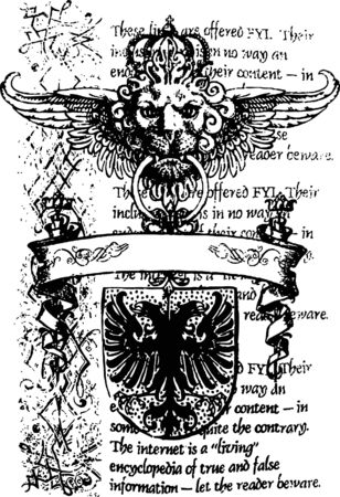 heraldieke leeuw en eagle banner