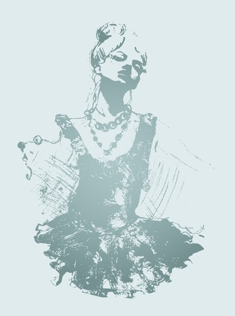 vogue style: young dancer drawing Illustration