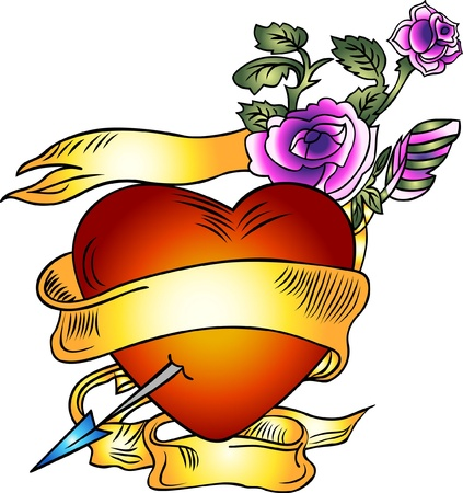 fancy heart emblem Vector
