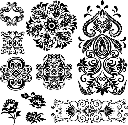 stylish floral element set Vector