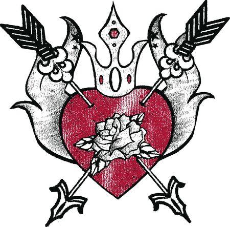 hart met roos embleem Vector Illustratie