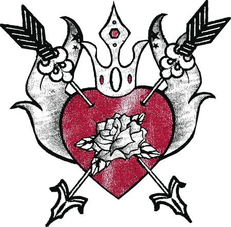 heart with rose emblem Vector