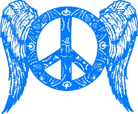 peace with wing emblem Vector