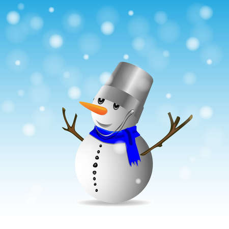 Card with snowman  Vector Illustration