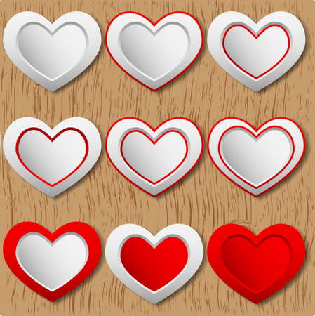 Empty red   white hearts  Vector Illustration