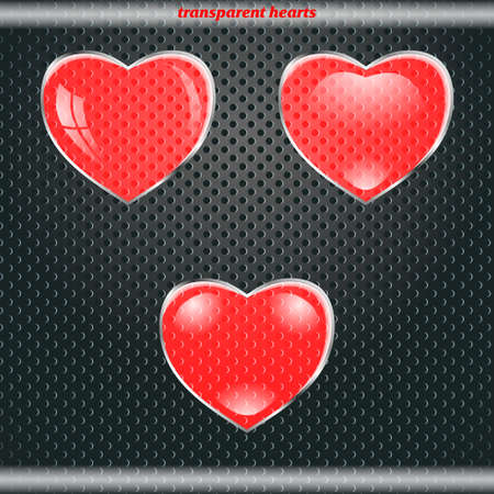 Red transparent hearts  Vector
