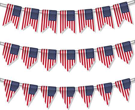 Flag bunting of the world  USA  Vector